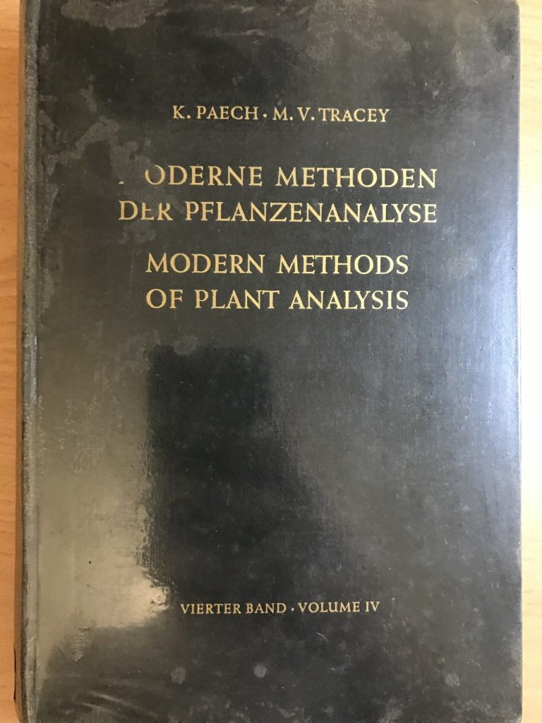 Modern Methods Of Plant Analysis / Moderne Methoden Der Pflanzenanalyse. Volume 4. Hardcover