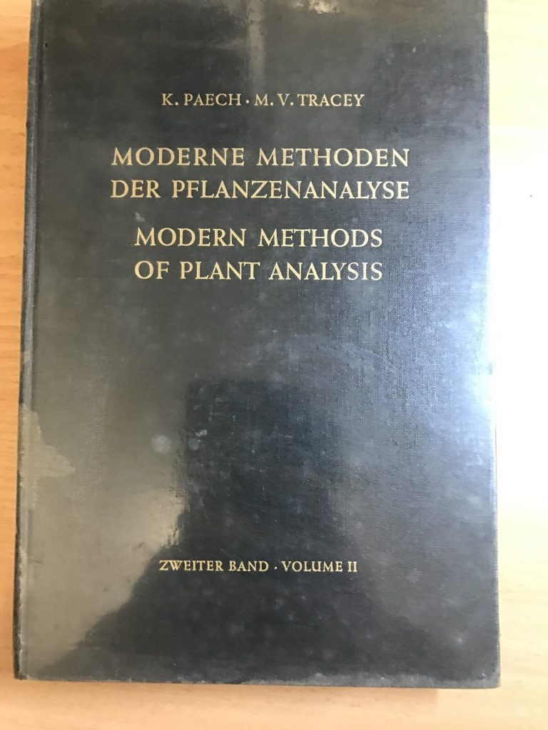 Modern Methods Of Plant Analysis / Moderne Methoden Der Pflanzenanalyse. Volume 2. Hardcover