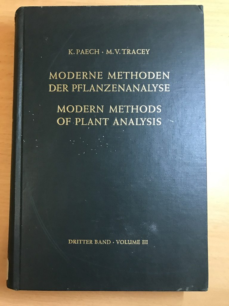 Modern Methods Of Plant Analysis / Moderne Methoden Der Pflanzenanalyse. Volume 3. Hardcover